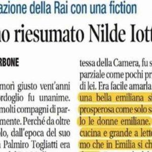 Donna d'Emilia (Nilde Iotti) brava in cucina e a letto, il massimo