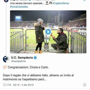 Cagliari Sampdoria, proposta matrimonio Sardegna Arena, post Samp
