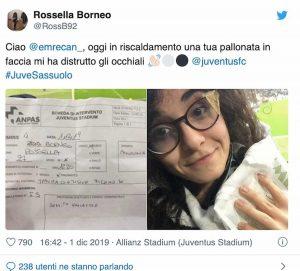 Rossella Borneo, Juventus, Emre Can rompe occhiali a tifosa con pallonata
