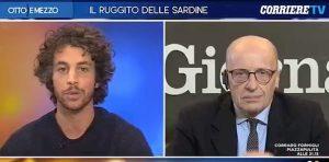 """Otto e Mezzo, Mattia Santori (Sardine) a Sallusti: """"Ha gli occhi foderati di prosciutto"""""""