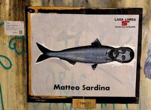 Matteo Salvini diventa Sardina: l'opera dello street artist TvBoy