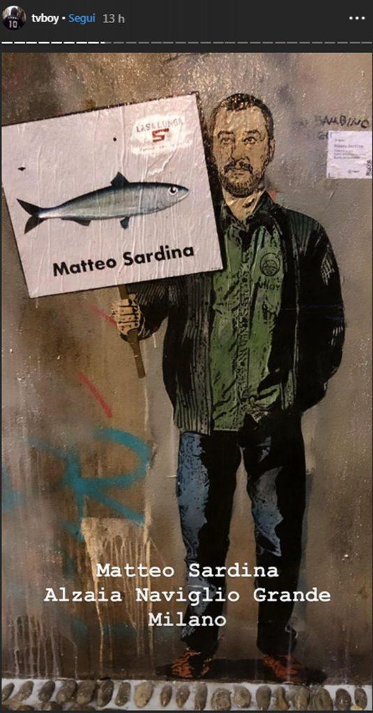 Matteo Salvini Sardina a Milano, opera dello street artist TvBoy
