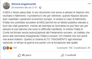 Simone Angelosante: post choc su Fb del consigliere leghista in Abruzzo