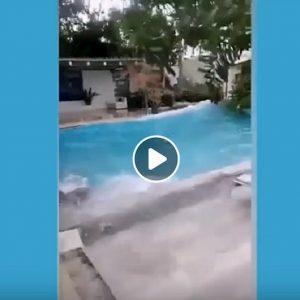 Terremoto Filippine: la scossa fortissima fa smuovere tutta la piscina VIDEO