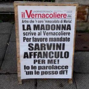 """Il Vernacoliere arruola la Madonna contro Salvini: """"Mandatelo a fanc*** per me, io le parolacce 'un le posso di'"""""""