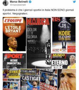 """Marco Belinelli e Federica Pellegrini contro la stampa sportiva italiana per il poco spazio concesso a Kobe Bryant: """"Vergognatevi"""""""