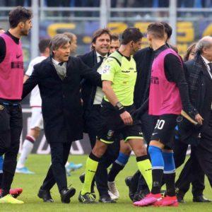 Inter-Cagliari: Conte aggredisce l'arbitro, poi lascia San Siro senza parlare