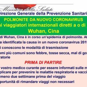 """Coronavirus cinese, Ministero della Salute: """"Vaccinarsi ed evitare viaggi inutili"""""""