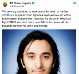 Aereo abbattuto in Iran, c'era anche un tifoso della Roma a bordo: il ricordo della società