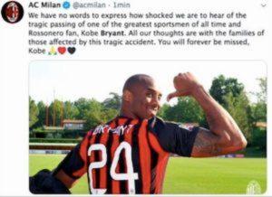 Milan chiede minuto di silenzio per Kobe Bryant, Lega Serie A dice no