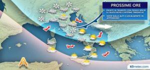 Previsioni meteo: qualche pioggia e nevicata, poi sole e temperature in rialzo