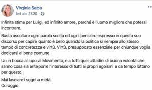 """Virginia Saba, la dedica a Luigi Di Maio: """"Infinita stima ed infinito amore"""""""