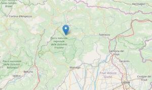 Terremoto tra Forni di Sopra e Ampezzo: scossa di magnitudo 3