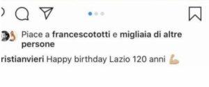 Lazio compie 120 anni, Totti mette like al post di Vieri che la festeggia su Instagram