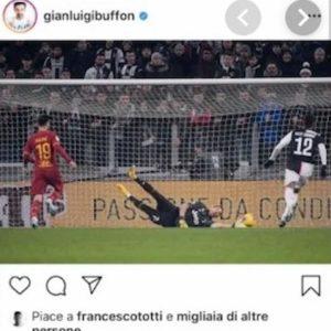 Totti, terza gaffe su Instagram in pochi giorni? Ha messo like al post di Buffon dopo la vittoria della Juventus sulla Roma