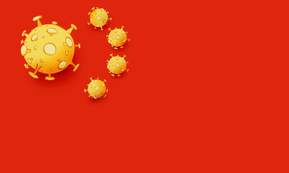 Bandiera con il Coronavirus al posto delle stelle nella vignetta ...
