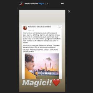 """I tifosi della Roma rispondono allo striscione dei laziali su Zaniolo: """"Vincete il derby per lui"""". Il calciatore ringrazia su Instagram"""