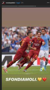 """Roma-Lazio, striscione contro Zaniolo e la mamma. Lui si sfoga su Instagram: """"Li sfondiamo"""""""