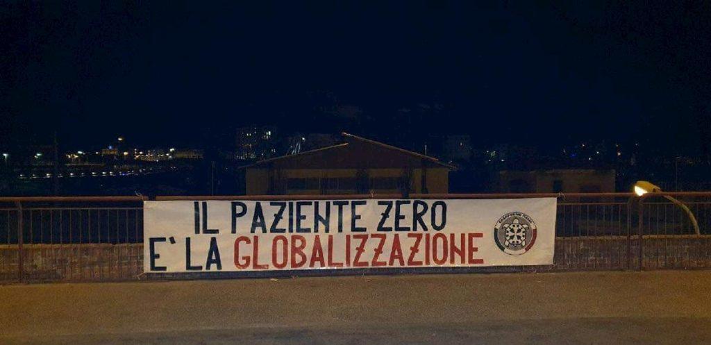 """Coronavirus, striscioni Casapound in Piemonte: """"Paziente zero è la globalizzazione"""""""