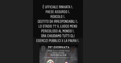 """Ascoli-Cremonese rinviata per il Coronavirus, il presidente Pulcinelliprotesta: """"Paese ridicolo"""""""