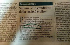 """""""Matteo Salvini leader della sega"""", il refuso sul Corriere della Sera"""