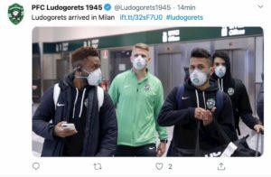 Coronavirus, Ludogorets arrivato a Milano con la mascherina FOTO