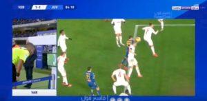 Verona-Juventus, braccio di Bonucci su colpo di testa di Kumbulla: è rigore