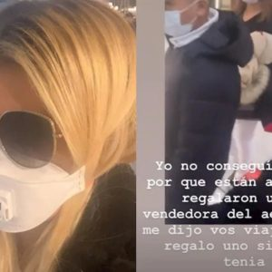 Coronavirus, Wanda Nara con mascherina in aeroporto