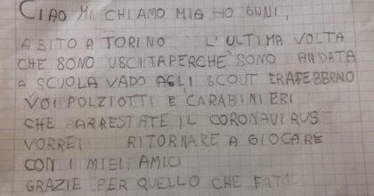 """Torino, la letterina a poliziotti e carabinieri di una bimba di 6 anni: """"Arrestate il coronavirus"""""""