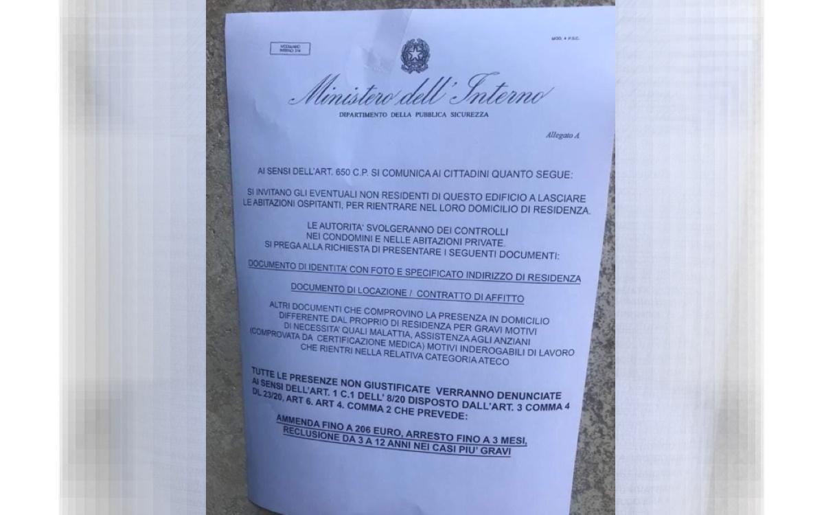 Coronavirus falso volantino: non residenti lascino casa. Polizia denuncia