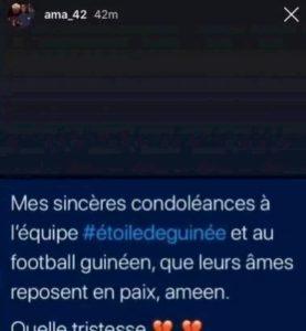Diawara, post su Instagram per i calciatori della Guinea morti tragicamente in un incidente