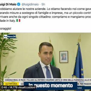 Coronavirus, da Luigi Di Maio appello a comprare e mangiare Made in Italy