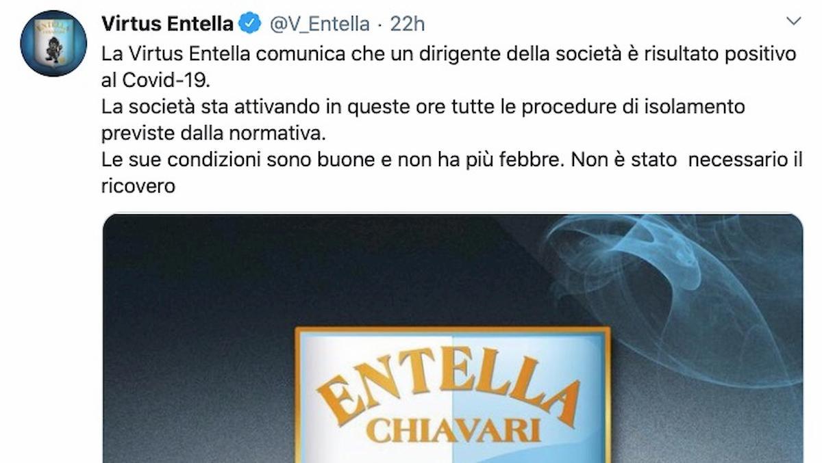 Coronavirus, primo caso in Serie B: è un dirigente della Virtus Entella