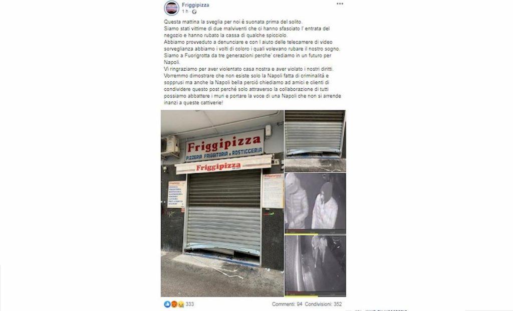 Napoli furto da Friggipizza a Fuorigrotta
