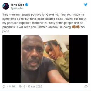 Idris Elba positivo coronavirus: annuncio su Twitter