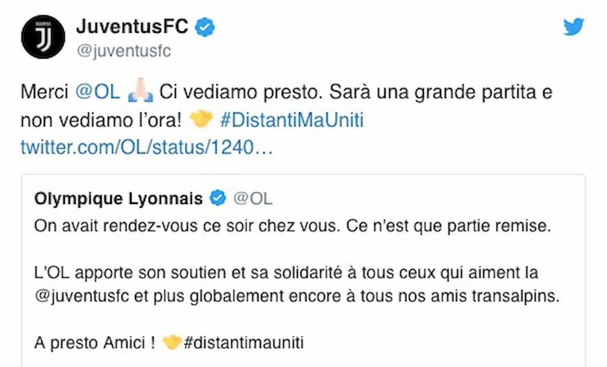 Coronavirus, Juventus-Lione non si gioca in campo ma sui social