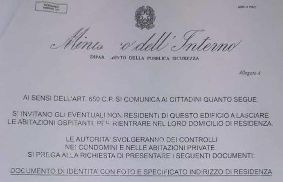 """Coronavirus, a Roma truffa con falsi volantini del Viminale: """"Chi non è residente deve lasciare casa"""""""