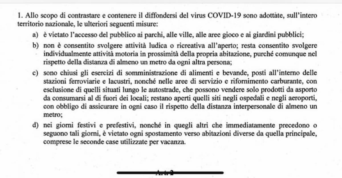 Coronavirus, i nuovi divieti: dallo sport all'aperto alle seconde case