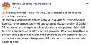 Victoria Libertas Pesaro Basket, due tesserati positivi al coronavirus