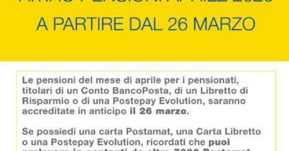 Coronavirus, Poste Italiane: le pensioni di aprile accreditate il 26 marzo