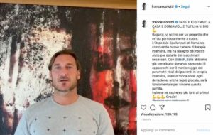 """Coronavirus, Totti: """"Donati 15 apparecchi allo Spallanzani"""""""