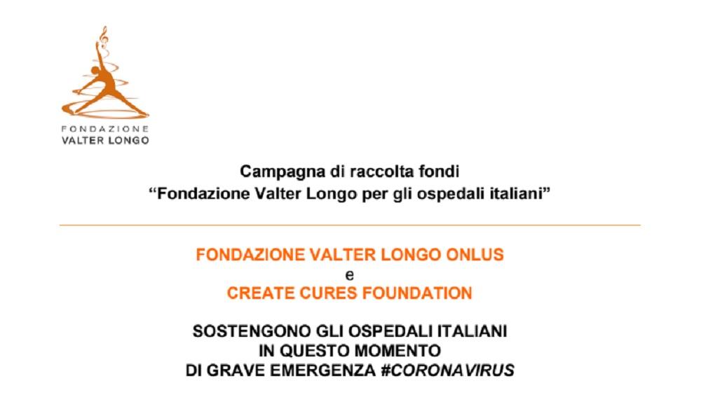 Coronavirus, campagna raccolta fondi della Fondazione Valter Longo per gli ospedali italiani