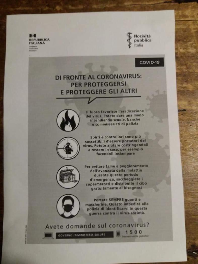 """Coronavirus, volantini contro la Polizia: """"Colpite gli sbirri, portatori del virus"""" 01"""