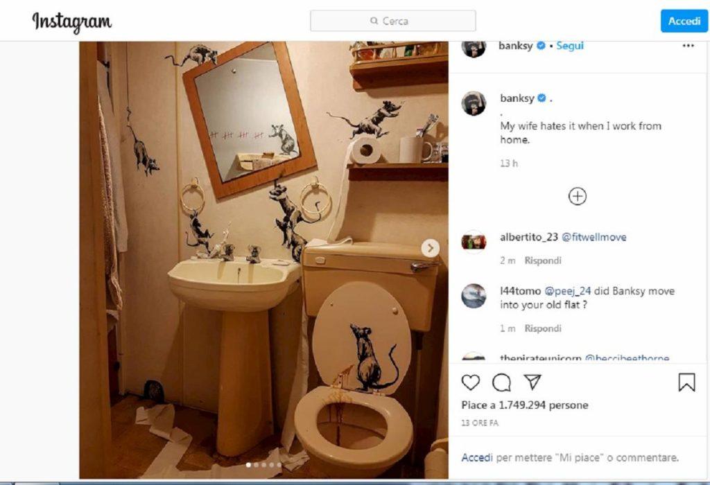 banksy disegna ratti al bagno
