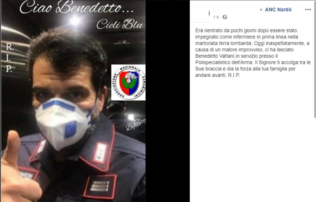Benedetto Vattani morto: carabiniere e volontario contro coronavirus