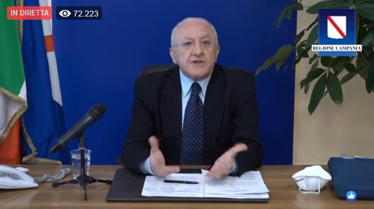 Coronavirus De Luca: Chiudere confini Campania se nord riapre