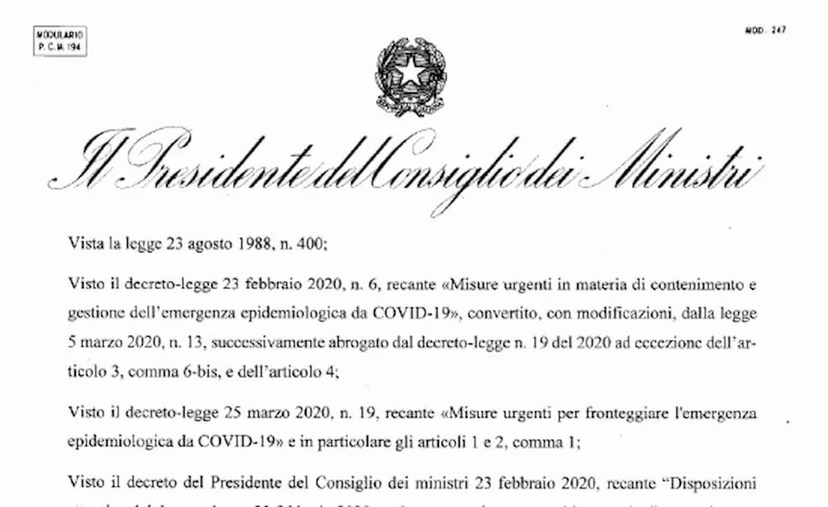 Dpcm 1 aprile coronavirus, il testo integrale. Scarica Pdf