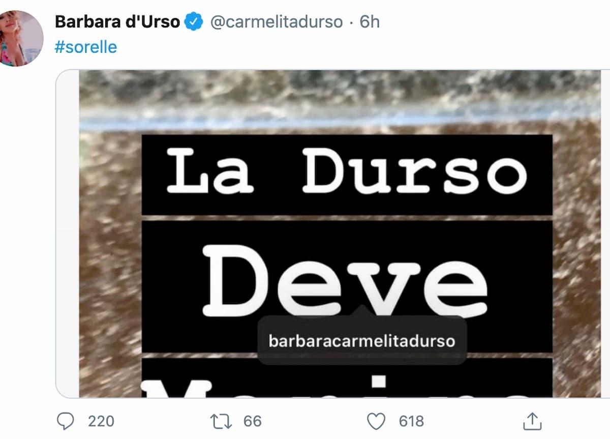 """Yari Carrisi, su Instagram la frase: """"La Durso deve morire"""""""