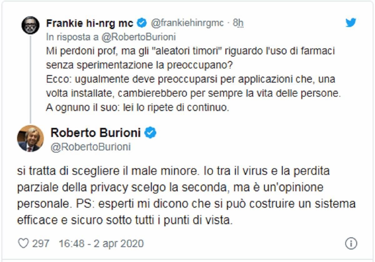 frankie hi -nrg vd burioni su twitter