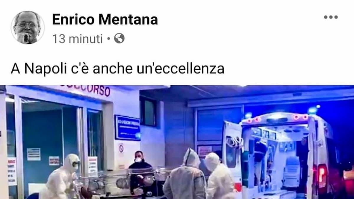 """Coronavirus, Mentana e la frase """"anche un'eccellenza"""" che fa arrabbiare Napoli"""
